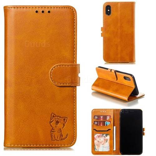 Embossing Happy Cat Leather Wallet Case for iPhone XS / iPhone X(5.8 inch) - Yellow
