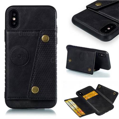 Retro Multifunction Card Slots Stand Leather Coated Phone Back Cover for iPhone XS / iPhone X(5.8 inch) - Black