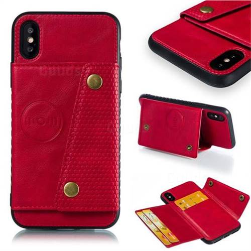 Retro Multifunction Card Slots Stand Leather Coated Phone Back Cover for iPhone XS / iPhone X(5.8 inch) - Red