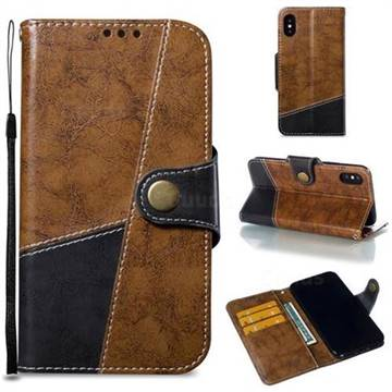 Retro Magnetic Stitching Wallet Flip Cover for iPhone XS / iPhone X(5.8 inch) - Brown