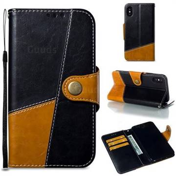 Retro Magnetic Stitching Wallet Flip Cover for iPhone XS / iPhone X(5.8 inch) - Black
