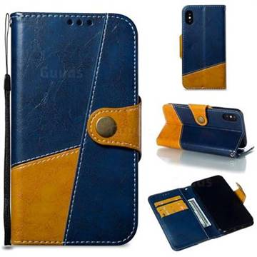 Retro Magnetic Stitching Wallet Flip Cover for iPhone XS / iPhone X(5.8 inch) - Blue