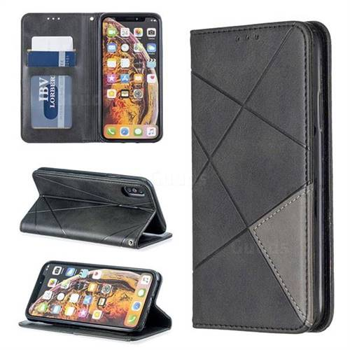 Prismatic Slim Magnetic Sucking Stitching Wallet Flip Cover for iPhone XS / iPhone X(5.8 inch) - Black