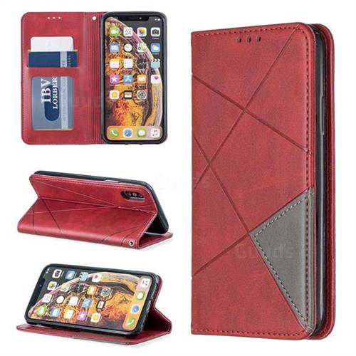 Prismatic Slim Magnetic Sucking Stitching Wallet Flip Cover for iPhone XS / iPhone X(5.8 inch) - Red