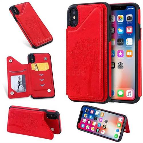 Luxury Tree and Cat Multifunction Magnetic Card Slots Stand Leather Phone Back Cover for iPhone XS / iPhone X(5.8 inch) - Red
