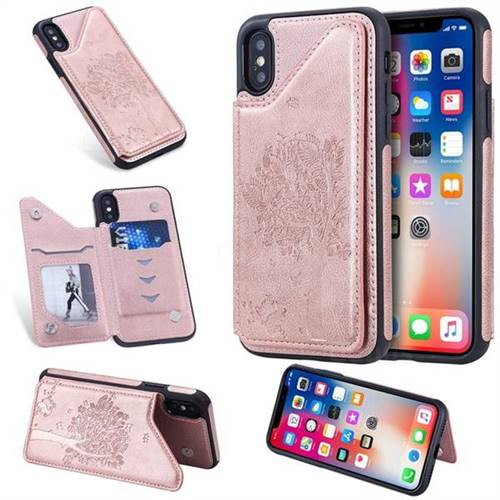 Luxury Tree and Cat Multifunction Magnetic Card Slots Stand Leather Phone Back Cover for iPhone XS / iPhone X(5.8 inch) - Rose Gold