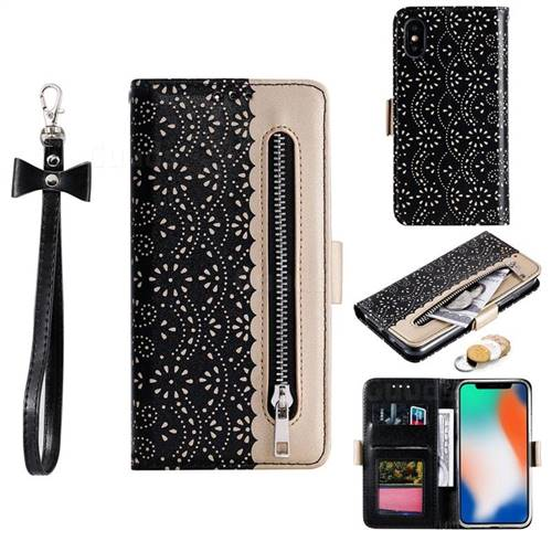 Luxury Lace Zipper Stitching Leather Phone Wallet Case for iPhone XS / iPhone X(5.8 inch) - Black