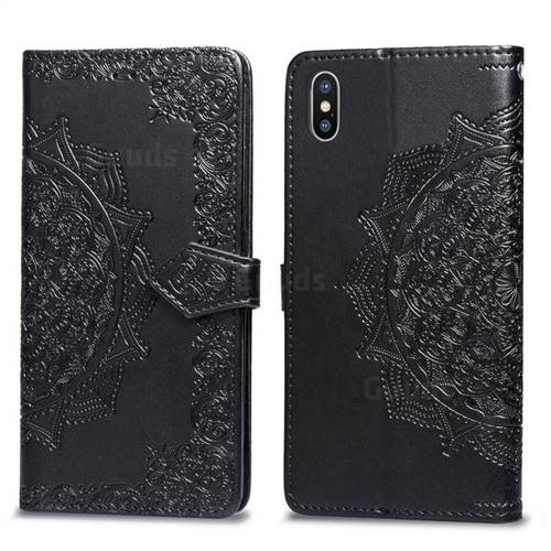 Embossing Imprint Mandala Flower Leather Wallet Case for iPhone XS / iPhone X(5.8 inch) - Black