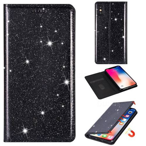 Ultra Slim Glitter Powder Magnetic Automatic Suction Leather Wallet Case for iPhone XS / iPhone X(5.8 inch) - Black