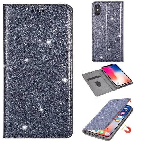Ultra Slim Glitter Powder Magnetic Automatic Suction Leather Wallet Case for iPhone XS / iPhone X(5.8 inch) - Gray