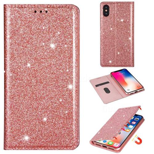 Ultra Slim Glitter Powder Magnetic Automatic Suction Leather Wallet Case for iPhone XS / iPhone X(5.8 inch) - Rose Gold
