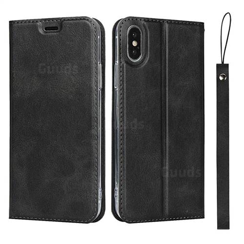 Calf Pattern Magnetic Automatic Suction Leather Wallet Case for iPhone XS / iPhone X(5.8 inch) - Black