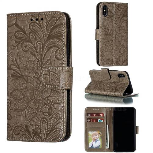 Intricate Embossing Lace Jasmine Flower Leather Wallet Case for iPhone XS / iPhone X(5.8 inch) - Gray