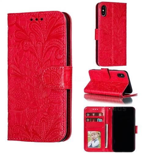 Intricate Embossing Lace Jasmine Flower Leather Wallet Case for iPhone XS / iPhone X(5.8 inch) - Red