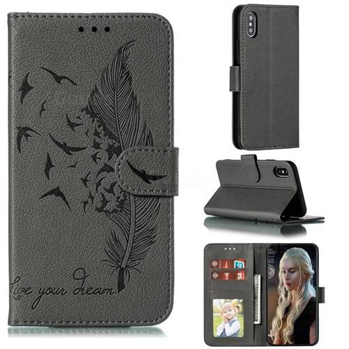 Intricate Embossing Lychee Feather Bird Leather Wallet Case for iPhone XS / iPhone X(5.8 inch) - Gray