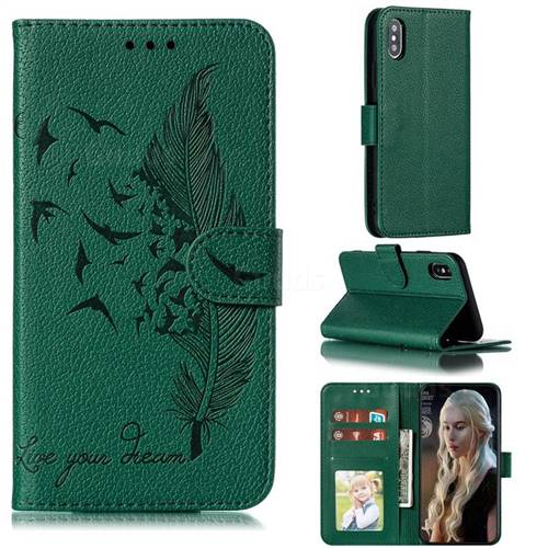 Intricate Embossing Lychee Feather Bird Leather Wallet Case for iPhone XS / iPhone X(5.8 inch) - Green