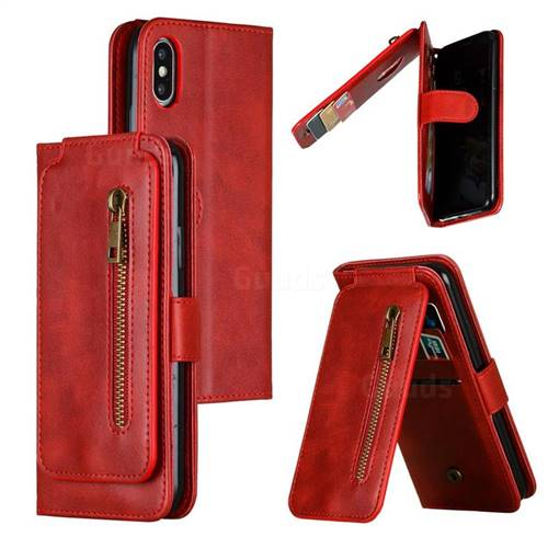 Multifunction 9 Cards Leather Zipper Wallet Phone Case for iPhone XS / iPhone X(5.8 inch) - Red