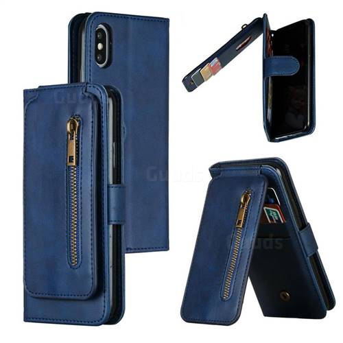 Multifunction 9 Cards Leather Zipper Wallet Phone Case for iPhone XS / iPhone X(5.8 inch) - Blue