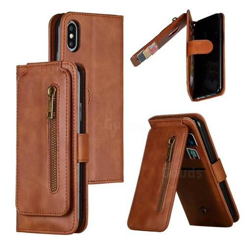 Multifunction 9 Cards Leather Zipper Wallet Phone Case for iPhone XS / iPhone X(5.8 inch) - Brown