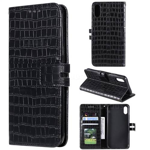 Luxury Crocodile Magnetic Leather Wallet Phone Case for iPhone XS / iPhone X(5.8 inch) - Black