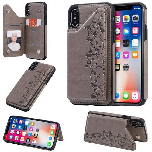 Yikatu Luxury Cute Cats Multifunction Magnetic Card Slots Stand Leather Back Cover for iPhone XS / iPhone X(5.8 inch) - Gray