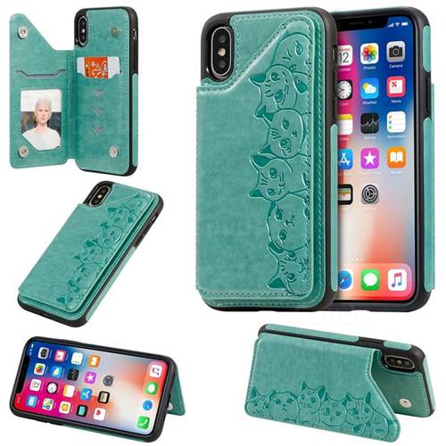 Yikatu Luxury Cute Cats Multifunction Magnetic Card Slots Stand Leather Back Cover for iPhone XS / iPhone X(5.8 inch) - Green