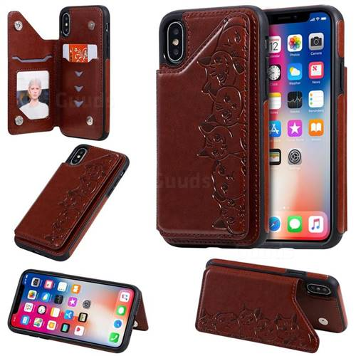 Yikatu Luxury Cute Cats Multifunction Magnetic Card Slots Stand Leather Back Cover for iPhone XS / iPhone X(5.8 inch) - Brown