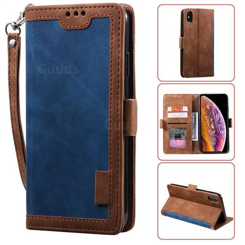 Luxury Retro Stitching Leather Wallet Phone Case for iPhone XS / iPhone X(5.8 inch) - Dark Blue