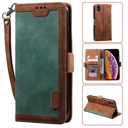 Luxury Retro Stitching Leather Wallet Phone Case for iPhone XS / iPhone X(5.8 inch) - Dark Green