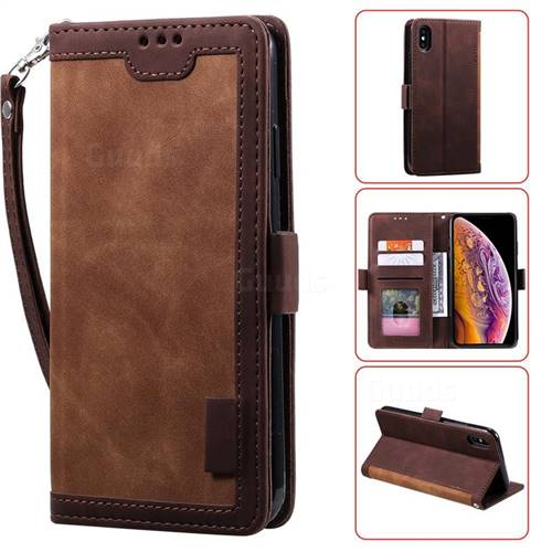Luxury Retro Stitching Leather Wallet Phone Case for iPhone XS / iPhone X(5.8 inch) - Dark Brown