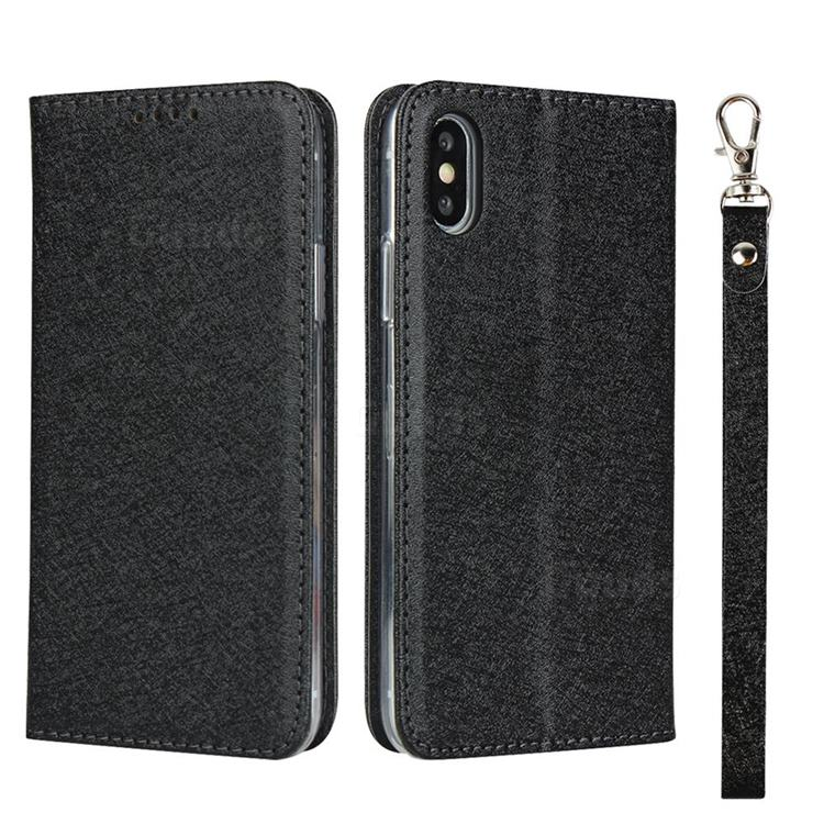 Ultra Slim Magnetic Automatic Suction Silk Lanyard Leather Flip Cover for iPhone XS / iPhone X(5.8 inch) - Black