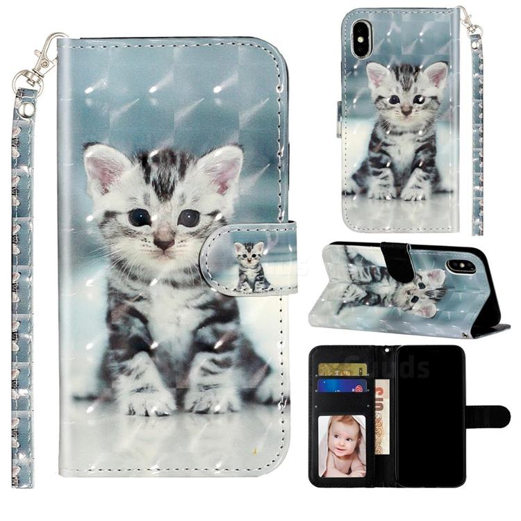 Kitten Cat 3D Leather Phone Holster Wallet Case for iPhone XS / iPhone X(5.8 inch)