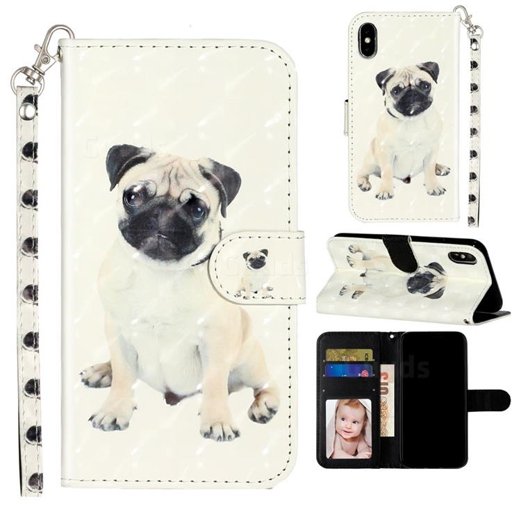 Pug Dog 3D Leather Phone Holster Wallet Case for iPhone XS / iPhone X(5.8 inch)