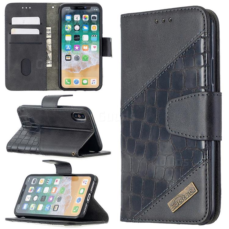 BinfenColor BF04 Color Block Stitching Crocodile Leather Case Cover for iPhone XS / iPhone X(5.8 inch) - Black
