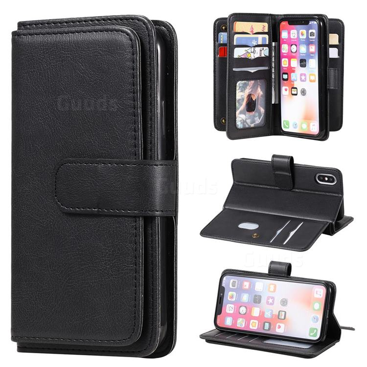 Multi-function Ten Card Slots and Photo Frame PU Leather Wallet Phone Case Cover for iPhone XS / iPhone X(5.8 inch) - Black