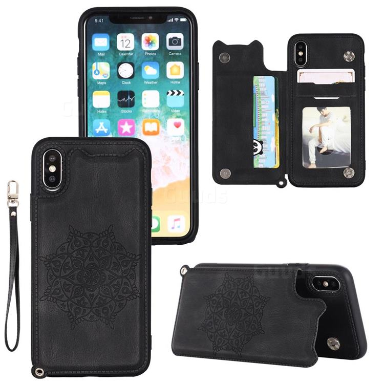 Luxury Mandala Multi-function Magnetic Card Slots Stand Leather Back Cover for iPhone XS / iPhone X(5.8 inch) - Black