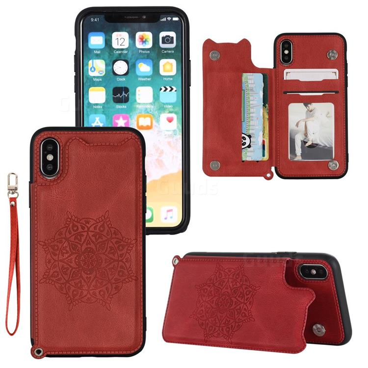 Luxury Mandala Multi-function Magnetic Card Slots Stand Leather Back Cover for iPhone XS / iPhone X(5.8 inch) - Red