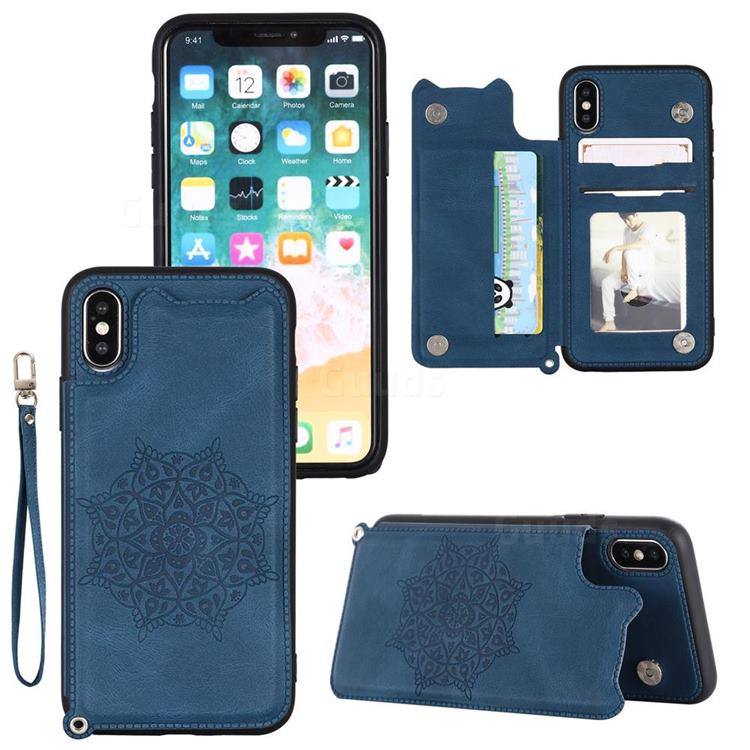 Luxury Mandala Multi-function Magnetic Card Slots Stand Leather Back Cover for iPhone XS / iPhone X(5.8 inch) - Blue