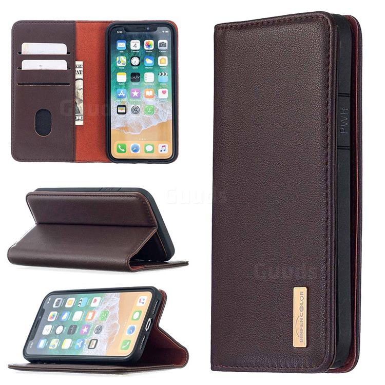 Binfen Color BF06 Luxury Classic Genuine Leather Detachable Magnet Holster Cover for iPhone XS / iPhone X(5.8 inch) - Dark Brown