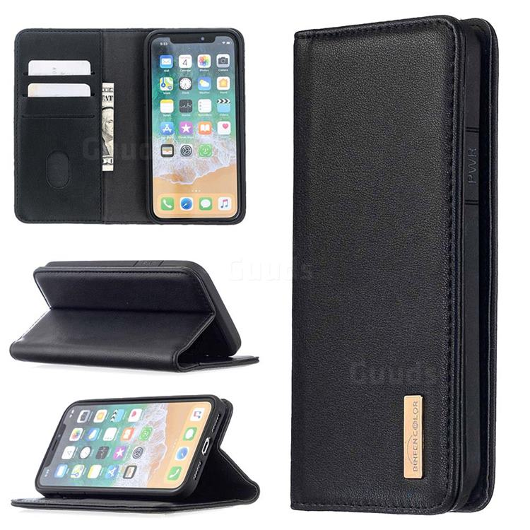 Binfen Color BF06 Luxury Classic Genuine Leather Detachable Magnet Holster Cover for iPhone XS / iPhone X(5.8 inch) - Black
