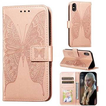 Intricate Embossing Vivid Butterfly Leather Wallet Case for iPhone XS / iPhone X(5.8 inch) - Rose Gold