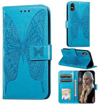 Intricate Embossing Vivid Butterfly Leather Wallet Case for iPhone XS / iPhone X(5.8 inch) - Blue