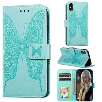 Intricate Embossing Vivid Butterfly Leather Wallet Case for iPhone XS / iPhone X(5.8 inch) - Green