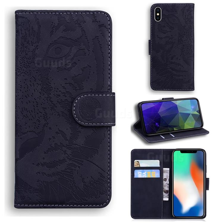Intricate Embossing Tiger Face Leather Wallet Case for iPhone XS / iPhone X(5.8 inch) - Black