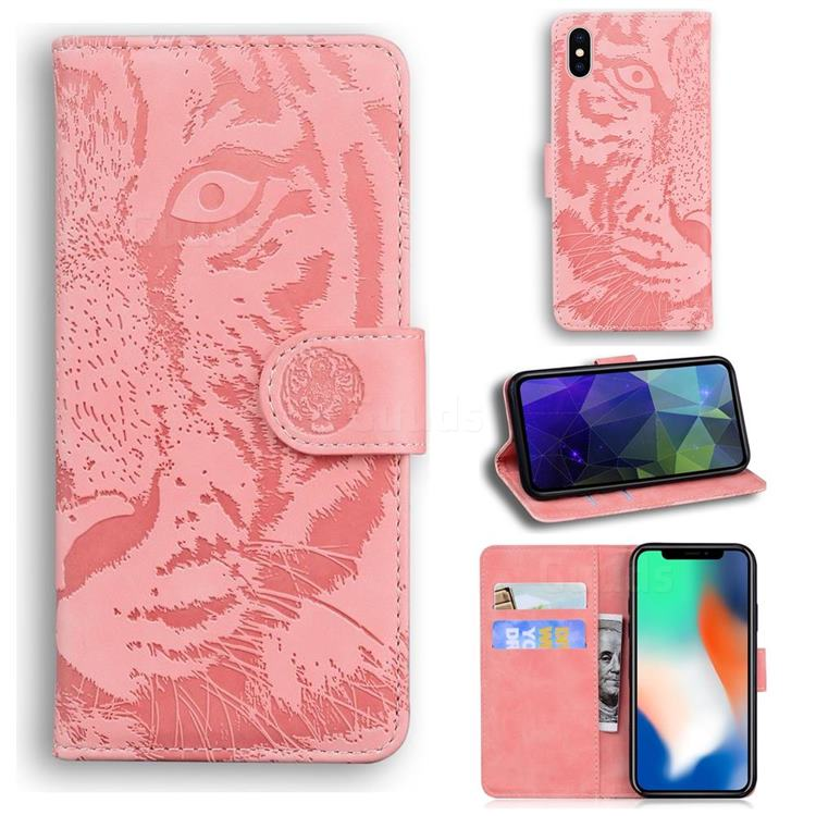 Intricate Embossing Tiger Face Leather Wallet Case for iPhone XS / iPhone X(5.8 inch) - Pink