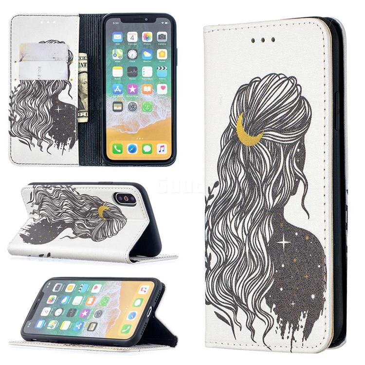 Girl with Long Hair Slim Magnetic Attraction Wallet Flip Cover for iPhone XS / iPhone X(5.8 inch)