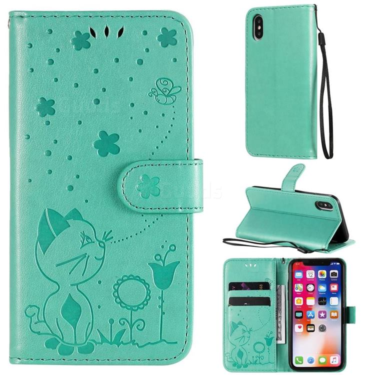 Embossing Bee and Cat Leather Wallet Case for iPhone XS / iPhone X(5.8 inch) - Green
