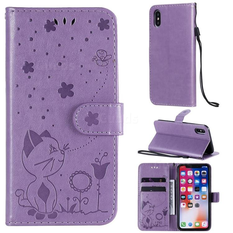 Embossing Bee and Cat Leather Wallet Case for iPhone XS / iPhone X(5.8 inch) - Purple