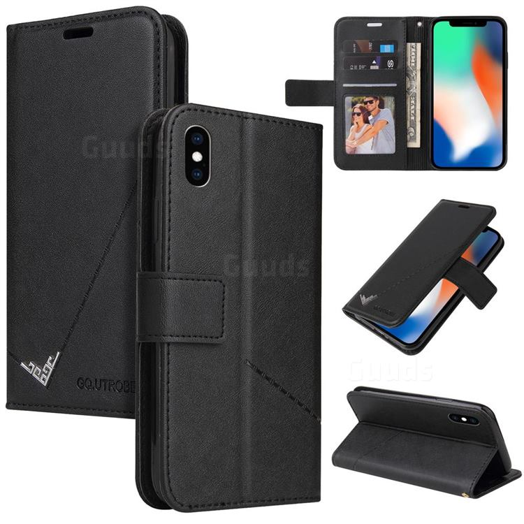 GQ.UTROBE Right Angle Silver Pendant Leather Wallet Phone Case for iPhone XS / iPhone X(5.8 inch) - Black