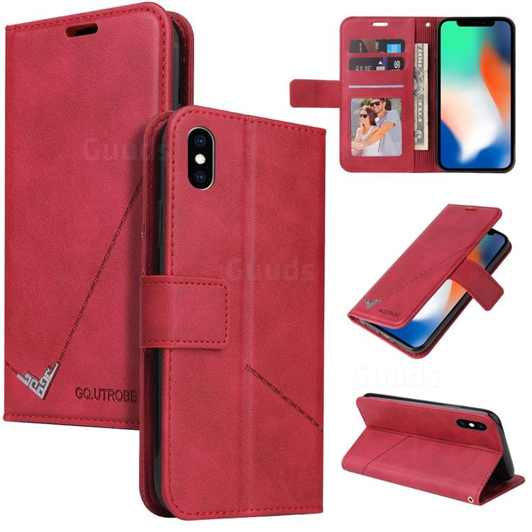 GQ.UTROBE Right Angle Silver Pendant Leather Wallet Phone Case for iPhone XS / iPhone X(5.8 inch) - Red